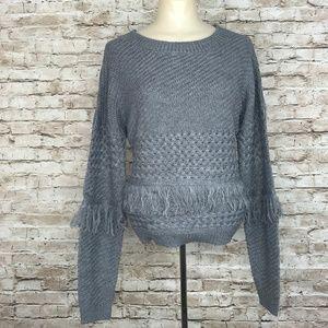 BB Dakota Heather Super Soft Gray Fringe Sweater